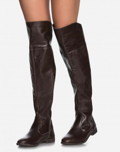 BOTA COURO OVER THE KNEE FLAT