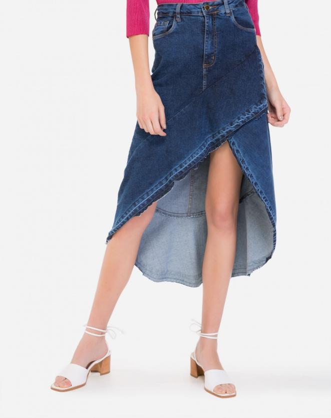 Saia Jeans Transpassada
