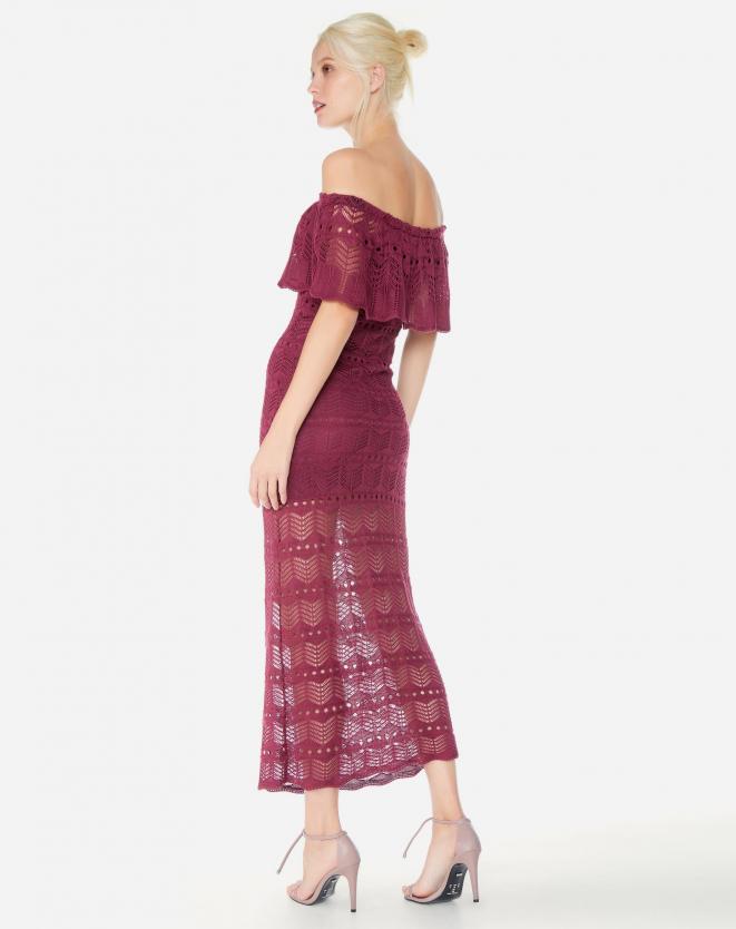 Vestido Tricô Bordô