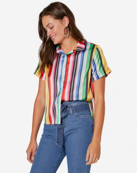 c9457965d5 Camisa Manga Curta Acetinada